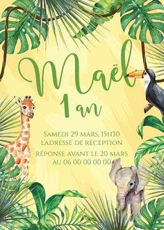 Invitation anniversaire animaux personnalisable !  Contactez moi par email ou sur www.j-b-design.fr   #invitation #anniversaire #birthday #enfant #animaux #girafe #savane #jungle #éléphant fille #garçon #marseille #france #paris #var #draguignan Marseille France, Paris France, Email, Movie Posters, Etsy, Design, Wedding Stationery, Savannah, Impressionism