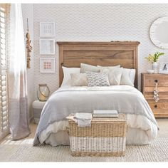 Beach themed bedroom with fish-motif wallpaper