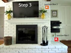 How to Mount a TV on a Brick Fireplace. love the white washed brick