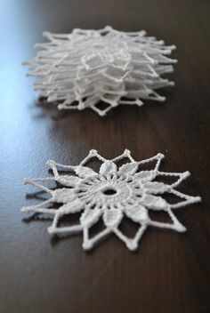 For Those who have much love to give, especially at Christmas time, I give them the opportunity to make beautiful gifts: SNOWFLAKES,which are delicately working with white thin thread. I AM A CHRISTMAS LOVER. The price is for ONE SNOWFLAKE. Crochet Christmas Decorations, Crochet Decoration, Crochet Ornaments, Handmade Ornaments, Ornaments Ideas, Ball Ornaments, Crochet Snowflake Pattern, Christmas Crochet Patterns, Crochet Snowflakes