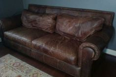 Distressed-Leather-Sofas- man cave