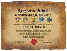 Harry potter hogwarts certificate diploma report card for Hogwarts certificate template