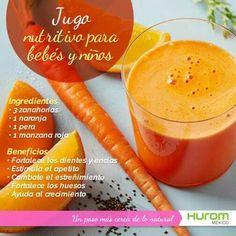 Jugo  nutritivo para bebés y niños.  Hurom México Healthy Recepies, Healthy Juices, Healthy Smoothies, Healthy Drinks, Smoothie Recipes, Chocolate Slim, Food C, Kids Menu, Juicing For Health