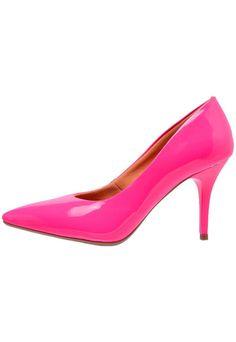 f3b19dbf7 Sandália Scarpin Magi Shoes Salto Medio Rosa Neon
