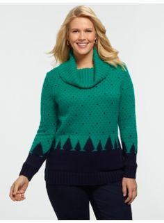 Cozy Pine Tree Cowlneck Sweater