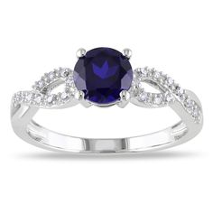 Miadora 10k White Gold Blue Sapphire and 1/10ct TDW Diamond Ring (G-H, I1-I2) - Overstock™ Shopping - Top Rated Miadora Gemstone Rings