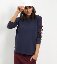 Navy Ribbed Tape Stripe Sleeve Sweater  | New Look