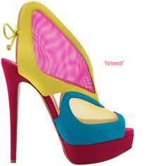 Christian Louboutin 'Farfamesh' Multicolor Suede Sandal Spring 2014 #CL #Louboutins #Shoes