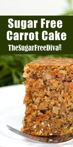 This sugar free carrot cake is the best sugar free carrot cake ever! A dessert recipe that is so yummy to eat! This sugar free carrot cake is the best sugar free carrot cake ever! A dessert recipe that is so yummy to eat! Sugar Free Carrot Cake, Sugar Free Deserts, Sugar Free Sweets, Best Carrot Cake, Sugar Free Recipes, Sweet Recipes, Diabetic Carrot Cake Recipe, Diabetic Recipes, Carrot Cake Recipes