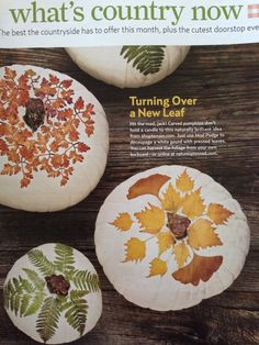 Decoupage pressed leaves onto white gourds