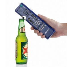 Universal remote w/ bottle opener. Best man-gift I've seen in a while. beer, gadget, bottle openers, gifts, tv remot, tvs, bottles, gift idea, bottl open