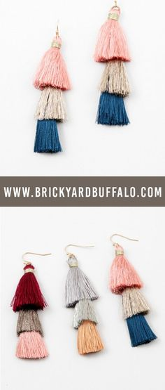 Cutest fashion jewelry! These colorblock tassel earrings go with everything and can be dressed up or down.  #jewelry #fahionjewelry #dropearrings #tasselearrings #womensfashion #accessories #brickyardbuffalo