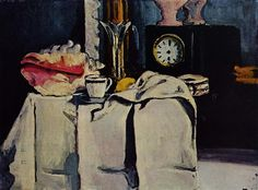 The Black Marble Clock, 1870 by Paul Cezanne, Impressionist period. Romanticism. still life. Private Collection