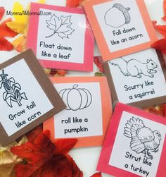 This set includes: Printable (black and white) Gross Motor Movement Cards for an Autumn / Fall Preschool or Tot School UnitLaminate or print on card stock for added durability, or glue to construction paper squares! Fall Preschool Activities, Thanksgiving Preschool, Gross Motor Activities, Gross Motor Skills, Preschool Crafts, Toddler Activities, November Preschool Themes, Autumn Theme, Autumn Fall