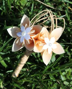 Origami and Raffia Corsage and Boutonniere by EverBloomsFlowers, $32.00