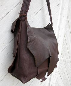 Dark Chocolate Brown Buffalo Leather Natural Edge Bag by Stacy Leigh Ready to Ship