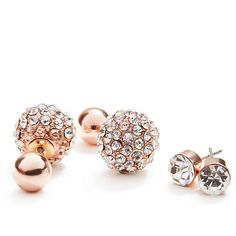 GUESS Alexis Fireball Earring Set ($14) ❤ liked on Polyvore featuring jewelry, earrings, rose gold, pink gold jewelry, guess jewellery, pink gold earrings, post earrings and rose gold earrings