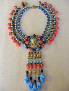 Fabulous Vintage Miriam Haskell Egyptian Revival Pharaoh Necklace:
