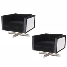 Pair of 1970s Mid-Century Modern Lounge Chairs in the Style of Milo Baughman | From a unique collection of antique and modern lounge chairs at https://www.1stdibs.com/furniture/seating/lounge-chairs/