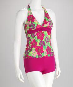 Look what I found on #zulily! Magenta & Lime Hibiscus Halter Tankini - Women by Daisy's Swimwear #zulilyfinds
