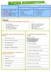 English worksheet: Making suggestions