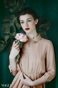 Portrait of a Lady in Pink with peony