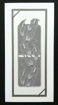 Clarity Lily Border Groovi Plate on grey parchment - by Lynne Lee