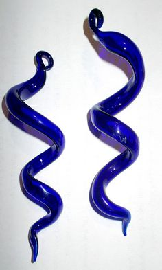 Set of TWO Hand Blown Glass Icicle Ornaments Cobalt by jmac1958