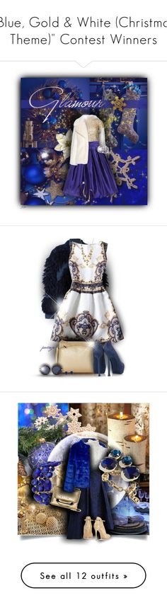 """""""""""Blue, Gold & White (Christmas Theme)"""" Contest Winners"""" by colierollers ❤ liked on Polyvore featuring Kim Seybert, STELLA McCARTNEY, Alice + Olivia, From St Xavier, Marina J., Christian Louboutin, 3.1 Phillip Lim, Reed, Kenneth Cole and Karen Walker"""