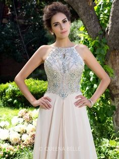 A-line/Princess Spaghetti Straps Sleeveless Beading Sweep/Brush Train Chiffon Dresses - Prom Dresses - Occasion Dresses - QueenaBelle.com