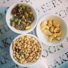 pistachios, pine nuts and cashews from the store