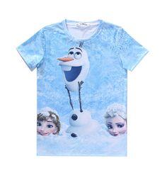 2263 Fashion Hot European cotton men crew neck 3D snowman Olaf printing summer hiphop short sleeve T-shirt S-2XL