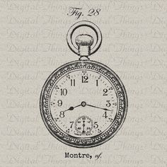 Vintage Watch Clock Pocketwatch French Script by DigitalThings French Script, French Words, Vintage Pocket Watch, How To Make Pillows, Tattoo Designs, Tattoo Ideas, French Decor, Hanging Art, Vintage Watches