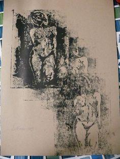Linoldruck 7 Frauen Akt kleiner Akt A4 Vintage Sonderdruck sandraart