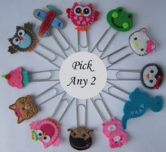 PICK Any 2 Extra LARGE Paperclip Bookmarks Owl by BabyWhatKnots