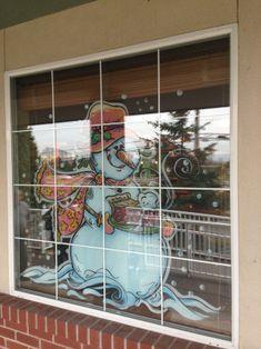 Christmas Snowman, Christmas Crafts, Christmas Windows, Painted Window Art, Painting Snow, Christmas Paintings, Window Design, Garden Design, Animation