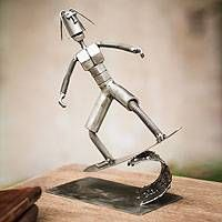 Recycled metal sculpture, 'Ride the Surf'