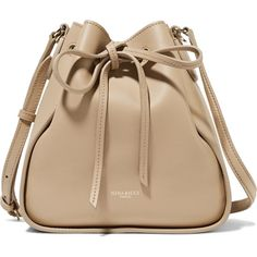 Nina Ricci - Leather Shoulder Bag (1.790 BRL) ❤ liked on Polyvore featuring bags, handbags, shoulder bags, sand, beige handbags, leather purses, beige purse, shoulder hand bags and leather shoulder handbags