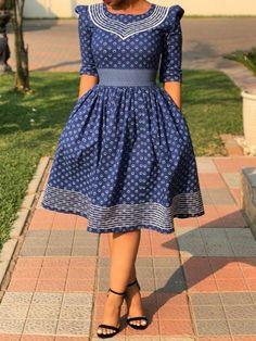 offprint half sleeve knee-length geometric date night/going out women's dress Best African Dresses, Latest African Fashion Dresses, African Print Dresses, African Attire, Women's Fashion Dresses, Setswana Traditional Dresses, South African Traditional Dresses, Sishweshwe Dresses, Ladies Day Dresses