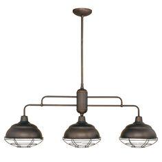 Millennium Lighting 5313 Neo-Industrial 3 Light Single Tier Linear Chandelier Rubbed Bronze Indoor Lighting Chandeliers Linear