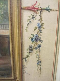Huile Sur Toile : Paysage en trompe l'oeil., Antiquités Fontaine, Proantic Stencil Painting On Walls, Painting Patterns, Fabric Painting, Hand Painted Furniture, Paint Furniture, Painted Curtains, Flower Model, Baroque Art, Easy Paintings