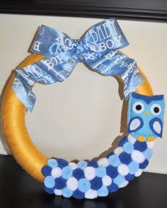 Its A Boy Owl Yarn Wreath