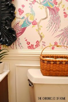 touch of radiant orchid basket- love this wallpaper!!!!!