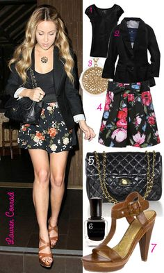LC rockin the floral skirt and blazer.