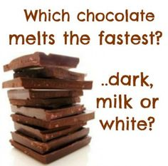 Which chocolate melts the fastest? Dark chocolate, milk chocolate or white chocolate? Health benefits of dark chocolate and recipes.