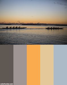 Two Team Of Outrigger Paddlers Train At Sunrise Along The Capitals Coast Line. The Traditional Paddling Encourages Health And Fitness. Color Scheme