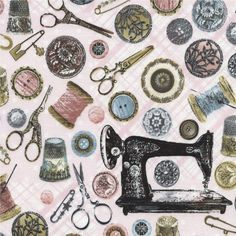 Timeless Treasures Antique Sewing Tools Pink from @fabricdotcom  Designed for Timeless Treasures, this cotton print fabric is perfect for quilting, apparel and home decor accents. Colors include pink, black, grey, white, blue and tan.