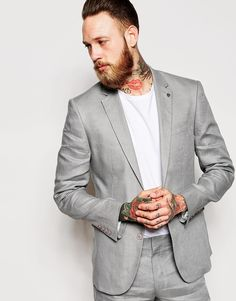 ASOS Slim Fit Suit Jacket In 100% Linen Grey http://asos.do/PmdUjY