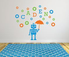 Robot name gears and cogs wall decal DB355 by designedbeginnings