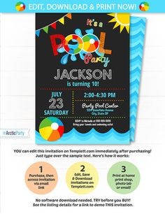 Pool Party Invitation Swimming Pool Birthday Party Pool $8 #PoolPartyInvitation #SwimmingPoolBirthdayParty #poolparty